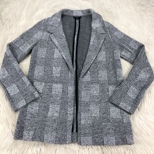 Topshop Plaid Stretch Open Front Knit Blazer